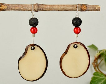 White tagua earrings, black lava jewelry, red coral jewelry, handmade women drop, wide earrings, boho jewelry, ethnic dangle
