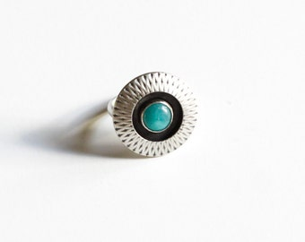 "Boho cocktail ring with a bright blue amazonite stone in a unique hollow form sterling silver setting w/ a geometric pattern - ""Amaya Ring"""