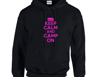 Keep Calm And Camp On Mens Hoodie  Funny