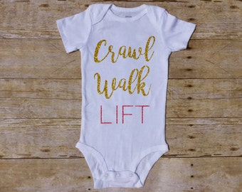 Crawl Walk Lift Outfit, WOD baby, lift Baby, Girl bodysuit, Baby Girl Outfit, deadleft baby, Workout baby, Baby Shower, barbell Butt