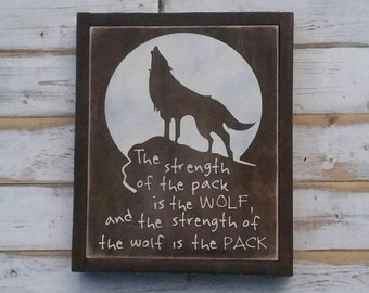 The Strength of the Wolf  | 11x13 painted wood sign | Gallery Wall |wolf pack nature boys room baby kids nursery decor