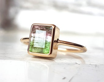 Handmade yellow gold ring with natural bicolor watermelon pink and green tourmaline - tourmaline ring - watermelon tourmaline Ring