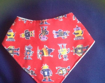 Cute Robot on Red Bandana Bib