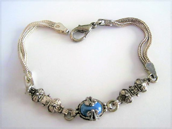 Sterling Turquoise Bracelet, Sterling Double Strand,  Caged Set Turquoise Stone, Signed 925, Feminine Tennis Bracelet