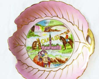 Vintage Souvenir Plate Canada L'Amour China Hand Painted Japan Pink Collectible