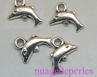 4 Tibetan silver Dolphin pendant charms