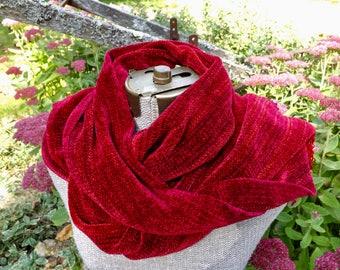 Burgundy Handwoven Chenille Scarf for Men or Women