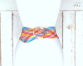 Vintage wide colorful braided woven chord lucite buckle cinch belt belt