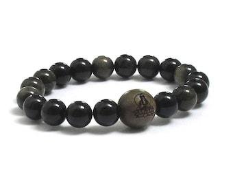 Mens Inspirational Jewelry, Dragonglass Obsidians Mala Beads Holistic Buddha in Lotus, Green Sandalwood Wood Bracelet Gift for Yoga Friend