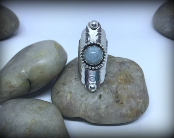 Aquamarine Sterling Silver Boho Saddle Ring - Sz. 7 (fits 6.5)