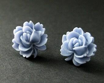 Blue Lotus Flower Earrings with Bronze Earring Studs. Flower Jewelry. Handmade Jewelry.
