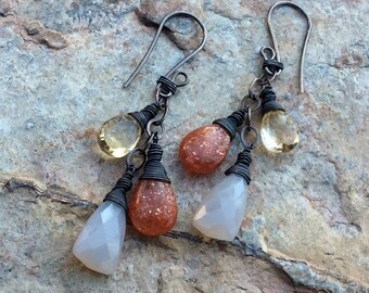 Multi GEMSTONE Earrings, Sunstone, Citrine, Chalcedony jewelry, sterling silver, handmade artisan earrings, AngryHairJewelry