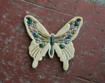 Pale Yellow Porcelain Butterfly Focal Pendant