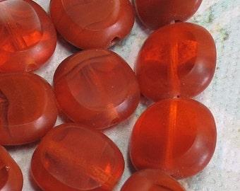 Czech Oval Beads, Rust, Topaz and Pumpkin Orange, 12 Beads - Item 748