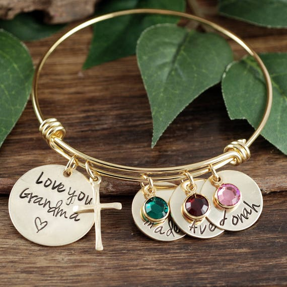 Grandma Bracelet, Personalized Grandmother Bracelet, Mommy Bangle Bracelet, Personalized Nana Bracelet, Gift For Nana, Kids Names