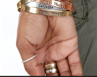 Personalized Message Hand Stamped Cuff, Gifts for Mom Custom Cuff, Inspirational Message or Name or Date Bracelet Cuff, Personalized Gift