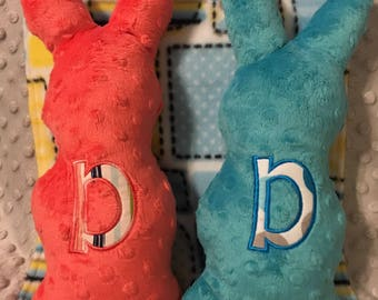 Personalized Gray Minky Dot Stuffed Bunny-Appliqued Letter