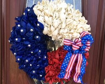 Patriotic wreath America, patriotic door decor, America door wreath, patriotic America wreath, balloon wreath, patriotic balloon wreath,