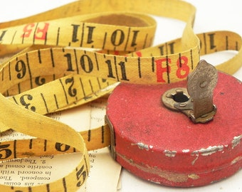 Vintage Walsco 25ft Cloth Tape Measure Repurpose Assemblage Altered Art Scrapbook Sewing Craft Supply