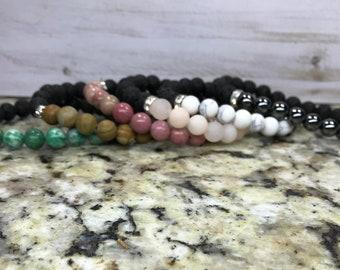 Gemstone Lava Bead Bracelet (8mm stones) - essential oil diffuser, Black lava bracelet, stretch bracelet, calming bracelet, essential oils