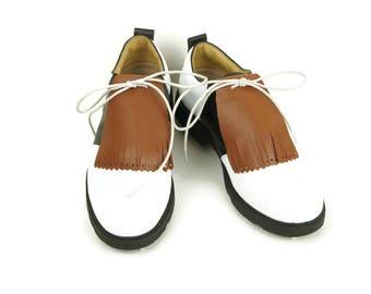 Oak Tan Kilties for Mens Golf Shoes, Swing Dance Leather Fringe Golf Shoe Kilties Golf Gift for Men, Golf Gift Ideas, Golf Stuff, Lindy Hop