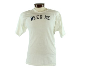 80s Flocked Tee Beer Me Short Sleeve T-Shirt White Knit Vintage 1980s Medium M Small S Hipster