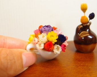 1:12 Floral Arrangement in a Giant Cup, Flowers Blossoms in White Plastic Vase, OOAK one inch 6 playscale scale dollhouse artisan miniature