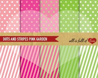 Pink Green SCRAPBOOK Digital Paper Pack Polka DOTS STRIPES Printable Backgrounds Kit Digital Download 12/15