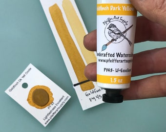 Watercolor Handmade Tube Paint Goldfinch Dark Yellow Oxide  1.5 oz