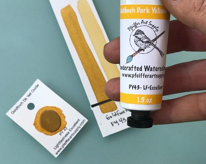 Watercolor Handmade Tube Paint Goldfinch Dark Yellow Oxide  1.5 oz (44 ml)