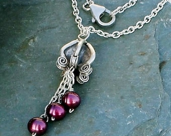 Sterling silver flower Freshwater Pearl Burgundy Pendant Chain Necklace