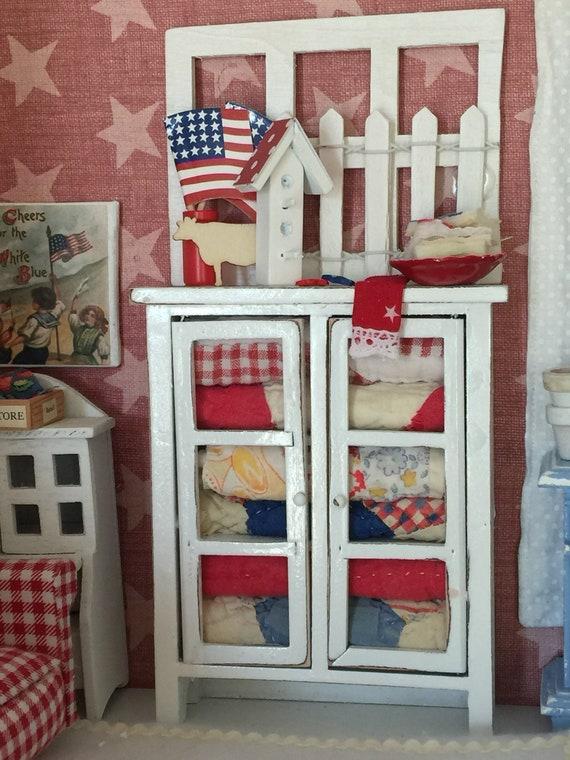 Miniature Distressed White Quilt Hutch- Vintage Americana Quilt Pieces - 1:12 dollhouse scale
