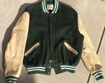 Green Varsity Jacket w/leather Sleeves
