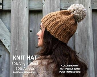 Knit pom pom hat, Alpaca/wool knit hat, pom pom winter hat, handknit hat, 50/50 Alpaca/wool hat, so soft and cozy, suggly soft