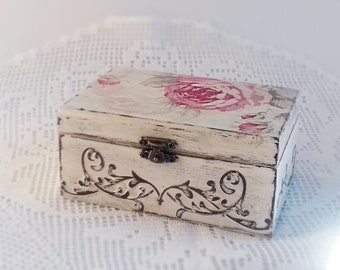 Wooden Decoupage Storage Box Handmade Vintage Jewelry Storage Box For Home Decor