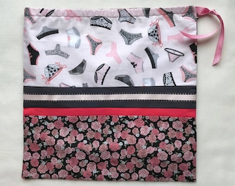 Drawstring lingerie bag. Pink and black. Fully lined. Santoro of London