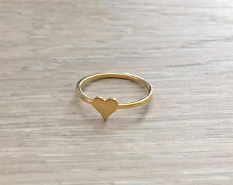 Tiny Heart Ring, Gold Ring, Stack Ring, Thin Ring, Knuckle Ring