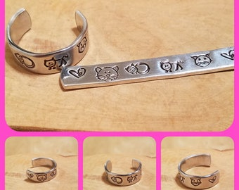 Kitty Cat 1/4 inch width hand stamped and polished adjustable size aluminum thumb ring perfect for any feline friend