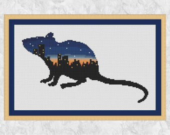 Rat cross stitch pattern, modern pet rat embroidery design, city silhouette, night sky, sunset, rodent, animal, wildlife - instant download