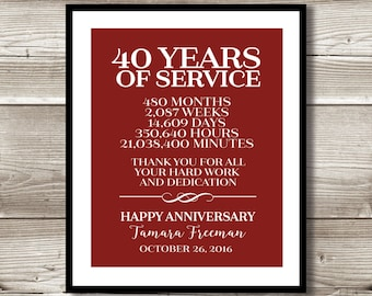 40 Year Work Anniversary Print; gift; digital print; customizable; thank you gift; years of service; retirement; employee recognition
