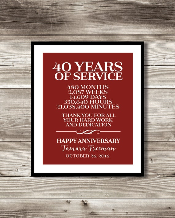40 year work anniversary print gift digital print for What do you give for a 20 year anniversary