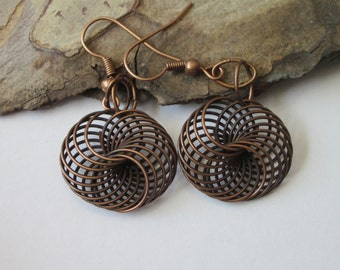 Twisted Spiral Earrings, Wire Earrings, Antiqued Copper Filigree, Metal Spiral Dangle, Round Shaped, Modern Abstract, Geometric Earrings