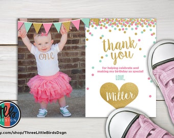 girl first birthday thank you card with photo, 1st birthday printable card, mint pink and gold glitter confetti heart thank you