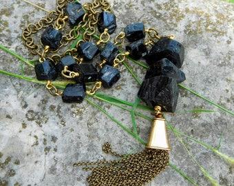 Raw Black tourmaline necklace | Tourmaline tassel necklace | Wire wrapped tourmaline necklace | raw crystal necklace | crystal necklace