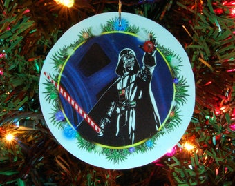 STAR WARS Darth Vader Christmas Ornament, Christmas Decoration, 4inch round, fine art print, laminated (red candy cane saber)