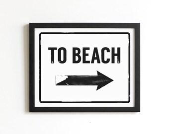 To Beach Print | Beach Sign | Coastal Wall Art