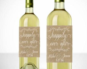 Happily Ever After Wine Labels - Printable - Wedding Favor - Personalized Wedding Wine Labels - Wedding Favors - Wedding Labels - Burlap