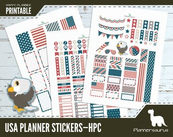 4th of July planner sticker printable | USA instant download | Happy Planner Classic printable | fourth of july | America | Stars and stripe