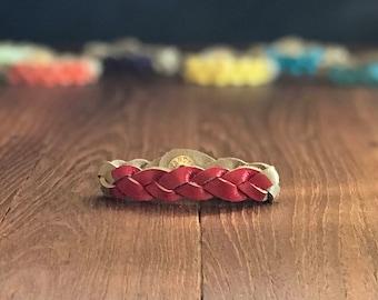 Root Chakra Bracelet, Meditation Bracelet, Red Leather Braided Bracelet, Gift for Yogi, Essential Oil Diffuser, Chakra Jewelry