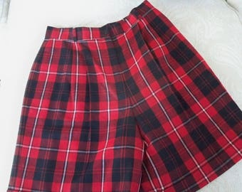 Vintage Clothing Women's Red Plaid Bermuda Shorts Size 14 Talbots Shorts Made in USA